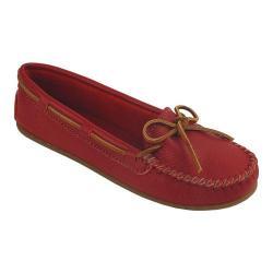 Women's Minnetonka Boat Moc Red Leather