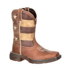 Children's Durango Boot DBT0157 8in Lil' Rebel Boot Brown/Distressed Flag Leather/Faux Leather