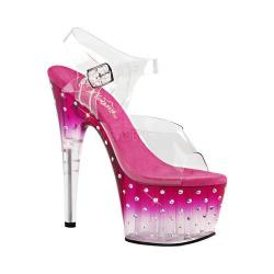 Women's Pleaser Stardust 708T Ankle-Strap Sandal Clear PVC/Pink/Clear