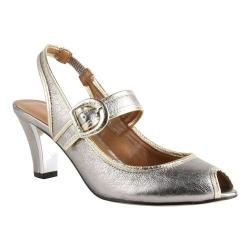 Women's J. Renee Nevern Peep Toe Slingback Taupe/Gold Metallic Nappa Leather