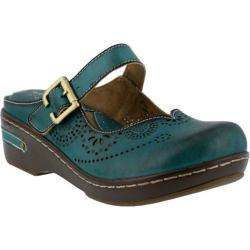 Women's L'Artiste by Spring Step Aneria Clog Teal Leather (2 options available)