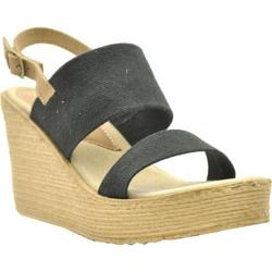 Women's Sbicca Camilla Slingback Wedge Black Canvas/Leather