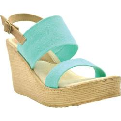 Women's Sbicca Camilla Slingback Wedge Turquoise Canvas/Leather