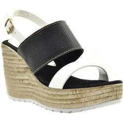 Women's Sbicca Cucamonga Slingback Wedge Black/White Leather/Faux Leather