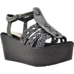 Women's Sbicca Davenport T-Strap Platform Sandal Black Faux Leather/Leather