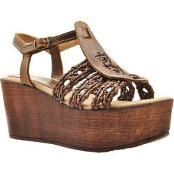 Women's Sbicca Davenport T-Strap Platform Sandal Brown Faux Leather/Leather