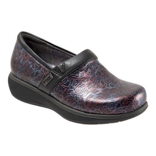 Women's SoftWalk Meredith Clog Purple/Red Embossed Leather