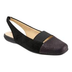 Women's Trotters Sarina Slingback Black Suede Combo