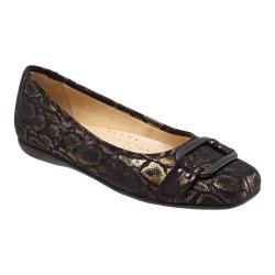 Women's Trotters Sizzle Signature Flat Black Washed Metallic Microfiber Suede