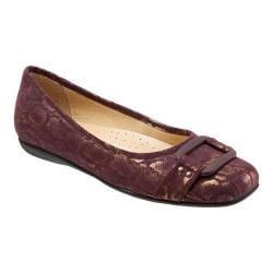 Women's Trotters Sizzle Signature Flat Bordeaux Washed Metallic Microfiber Suede