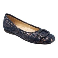 Women's Trotters Sizzle Signature Flat Navy Washed Metallic Microfiber Suede