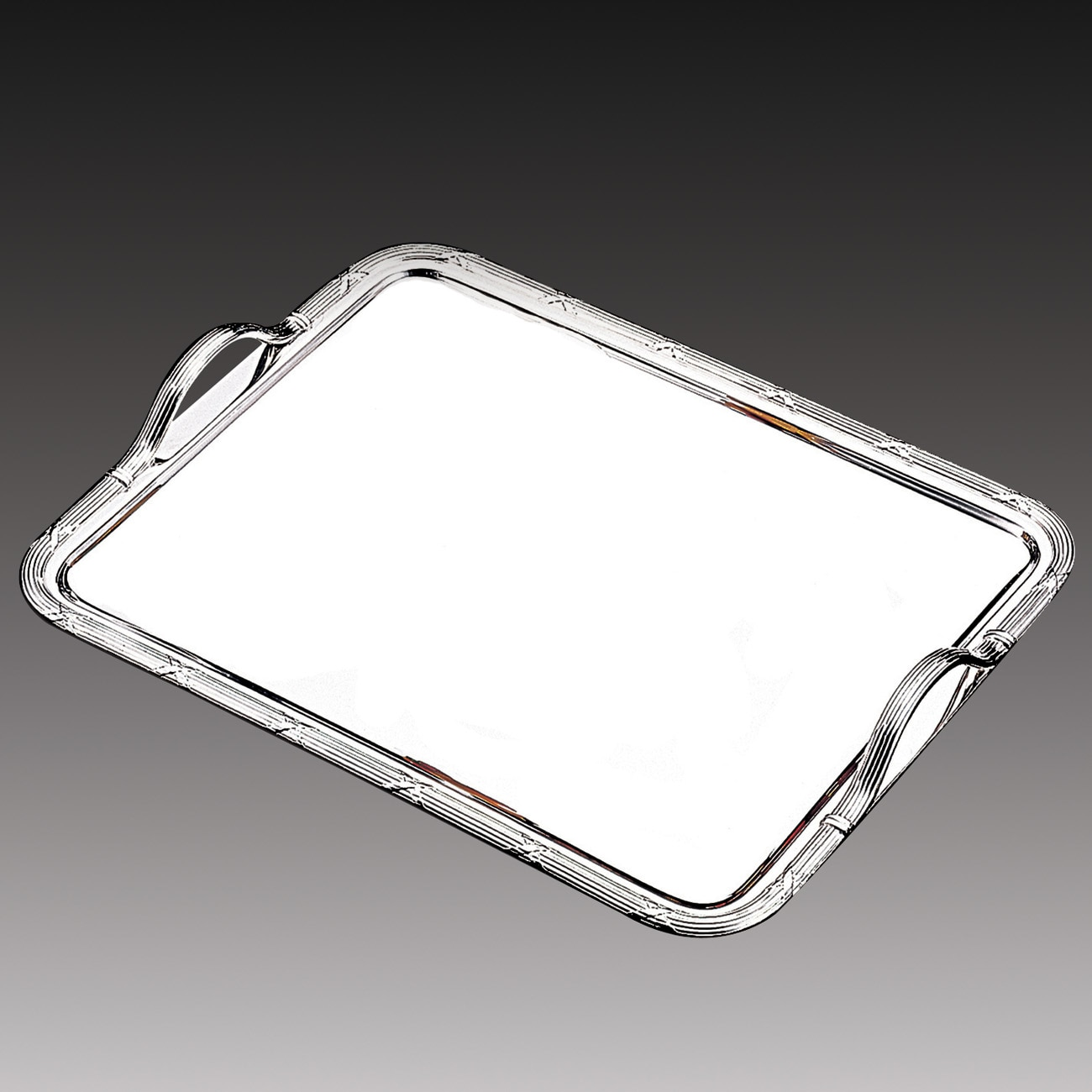 Wolff Silver Stainless Steel Large Rectangular Serving Tray with Handles
