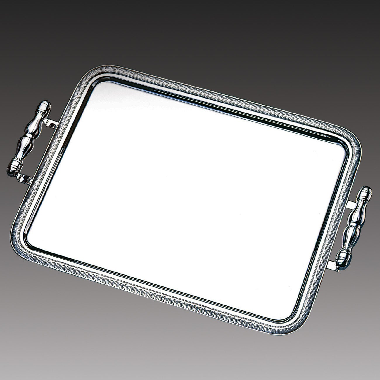 Wolf Silvertone Stainless Steel Large Rectangular Serving Tray with Handles