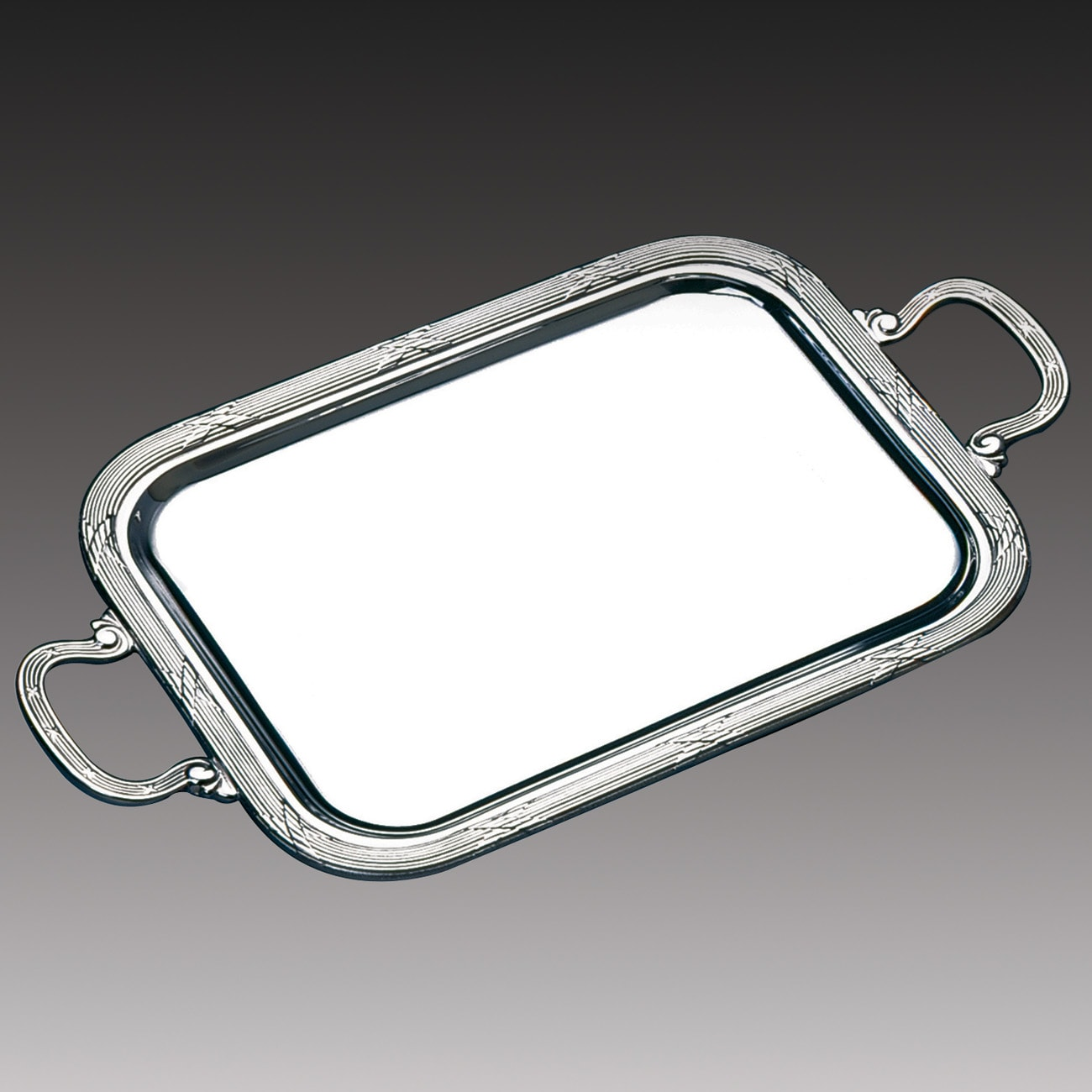 Wolff Croise Silver Stainless Steel Rectangle Serving Tray with Handles