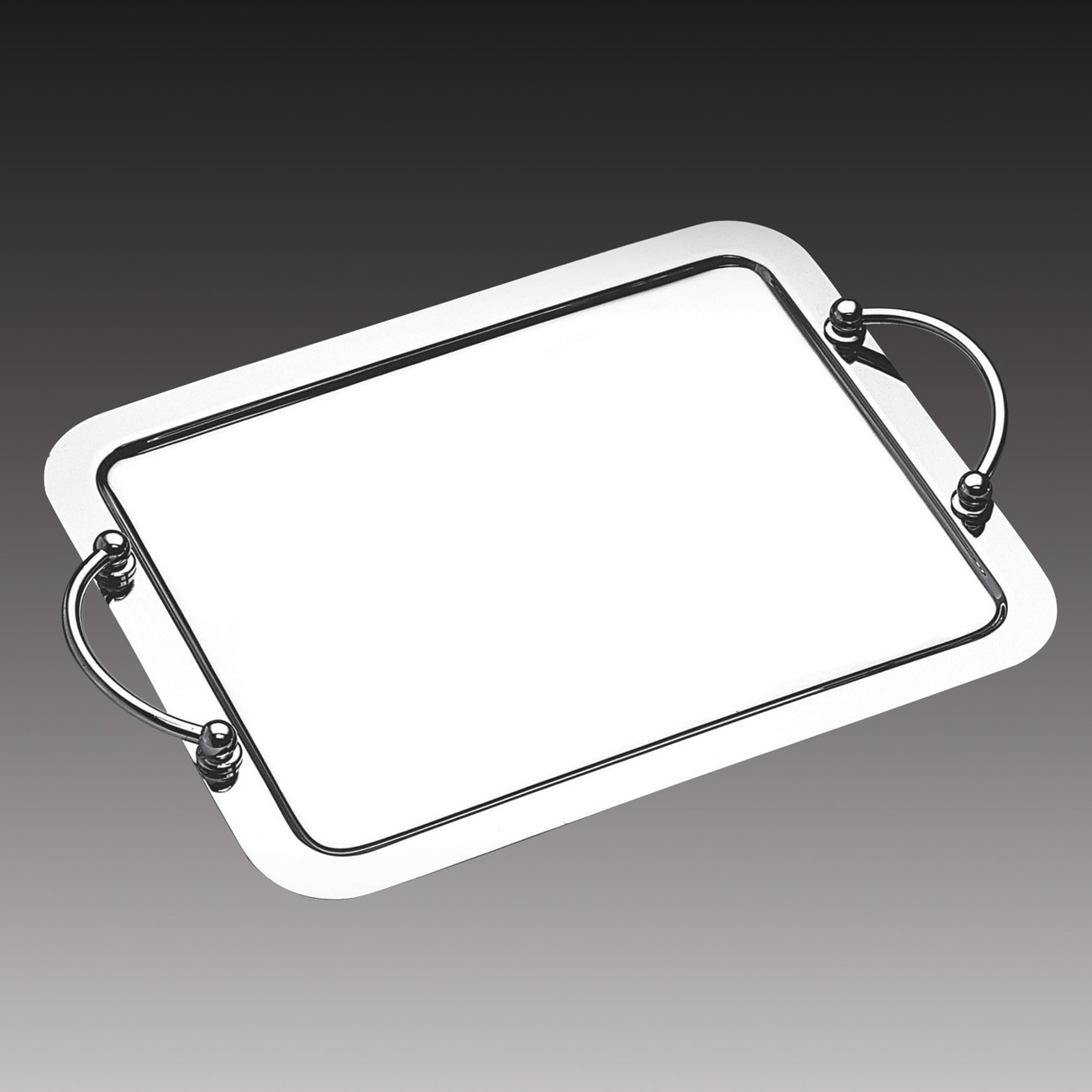 Wolff Ball Silvertone Stainless Steel 9.1-inch x 7.5-inch Large Serving Tray with Handles