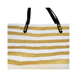 Women's San Diego Hat Company Gold Stripe Polyester Braid Tote BSB1558 White