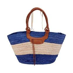 Women's San Diego Hat Company Paperbraid Tote BSB1561 Blue/Natural