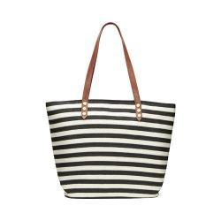 Women's San Diego Hat Company Stripe Tote Bag with PU Trim BSB1350 Black/Ivory Stripe