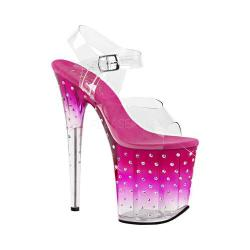 Women's Pleaser Stardust 808T Ankle-Strap Sandal Clear PVC/Pink/Clear