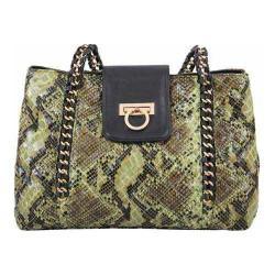 Women's Mellow World Leona Snake-Embossed Chain Shoulder Bag Olive