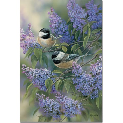WGI Gallery 'Chickadees and Lilac' Wood Wall Art Print