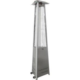 AF Lighting Triangle Flame Glass Patio Heater, 7.5' Tall, Propane, 42,000 BTU - Stainless Steel