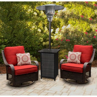 Hanover Square Brown/Hammered Bronze Wicker 7' 41,000-BTU Propane Patio Heater