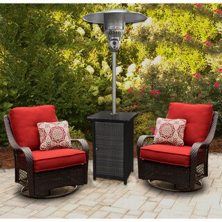 Hanover Brown Stainless Steel/Wicker 7-foot 41,000-BTU Square Propane Patio Heater
