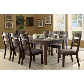 Furniture of America Rayshin Rustic 9-piece Espresso Expandable Dining Set