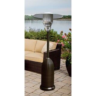 Hanover Black Round Wicker Propane Patio Heater