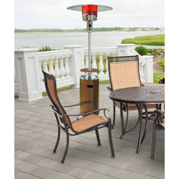Shop Hanover Bronze Stainless Steel Foot BTU Umbrella - 7 foot stainless steel table