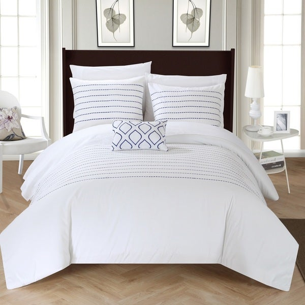 Chic Home Kingston 8-Piece White Bed in a Bag Duvet Set