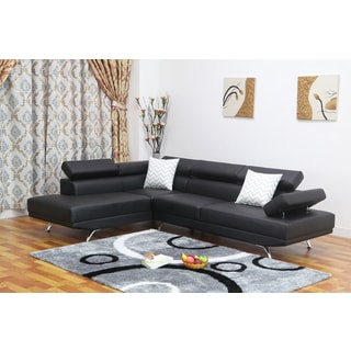 dakodak black faux leather 2 piece sectional sofa set. Interior Design Ideas. Home Design Ideas