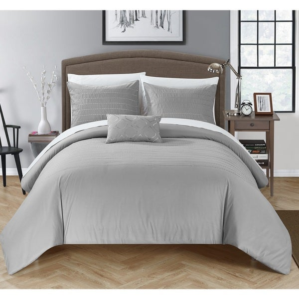 Chic Home Kingston 8-Piece Grey Bed in a Bag Duvet Set