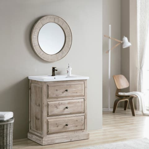 Rustic Style 30-inch Single Sink Bathroom Vanity with Matching Wall Mirror