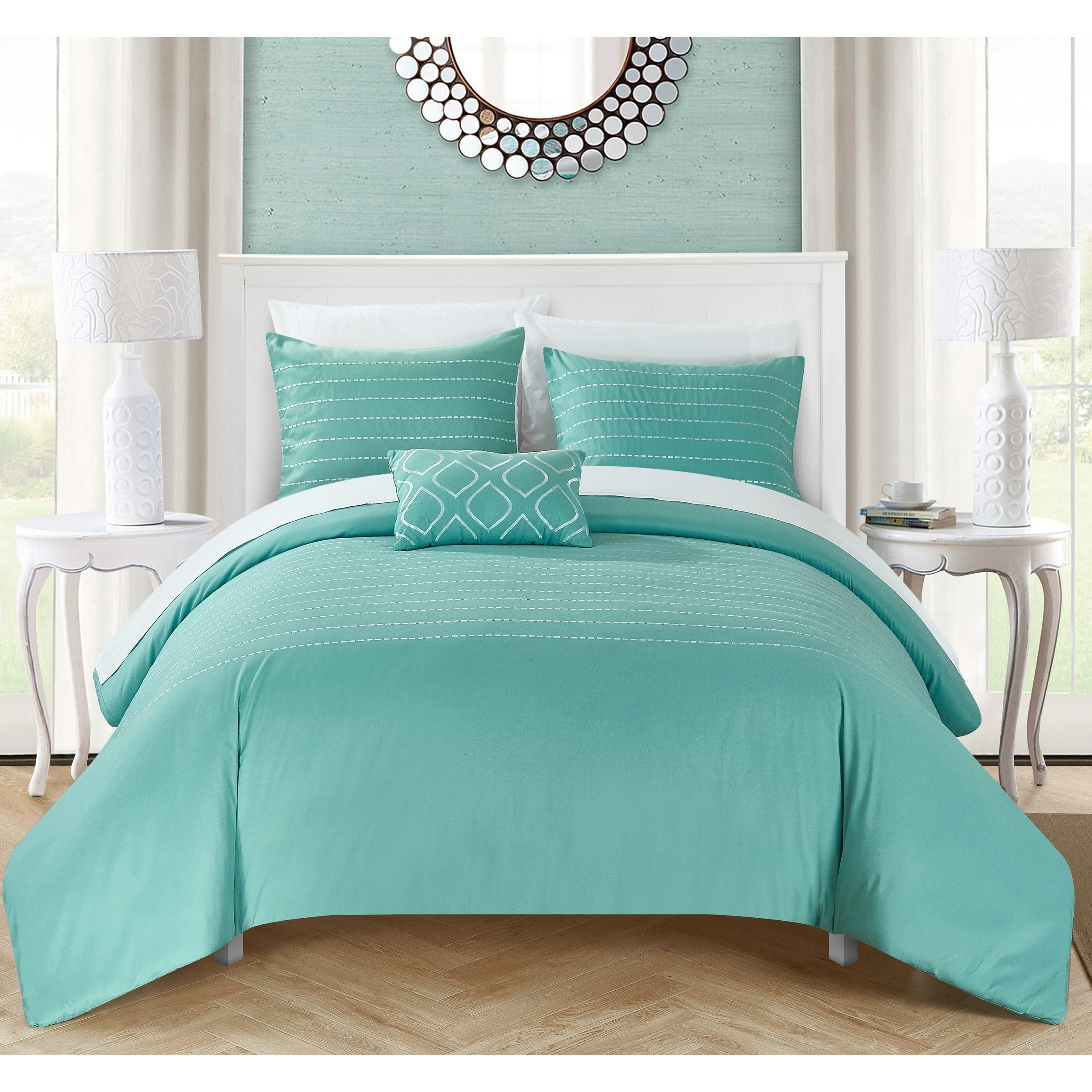 Chic Home Kingston 8 Piece Turquoise Bed in a Bag Duvet Set Free