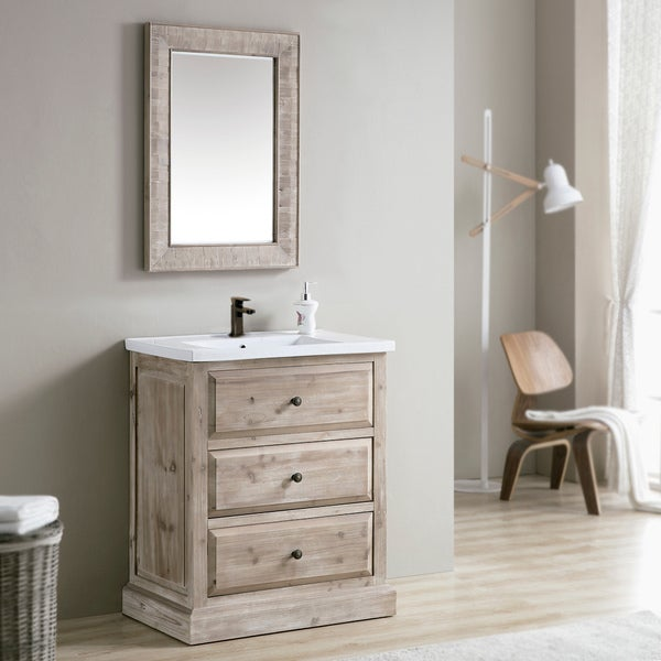 Shop rustic style 30 inch single sink bathroom vanity free shipping today for 30 inch bathroom vanity with sink