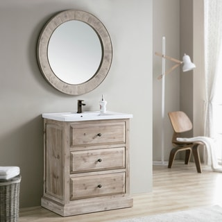 Rustic Style 30-inch Single Sink Bathroom Vanity with Matching Wall Mirror (Large)