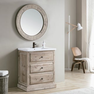 Rustic Style 30 Inch Single Sink Bathroom Vanity With Matching Wall Mirror  (Large)