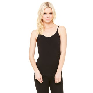 Cotton/Spandex Women's Black Shelf Bra Tank