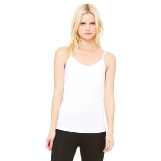 Cotton/Spandex Women's White Shelf Bra Tank