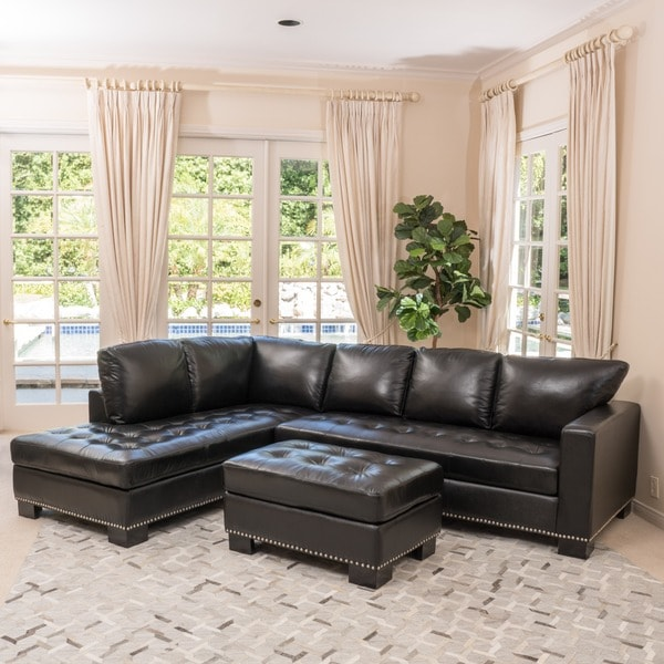Lincoln Left Facing 3 Piece Leather Sectional Sofa Set By Christopher Knight Home