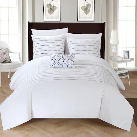 Silver Orchid Monroe 4-piece White Duvet Cover Set