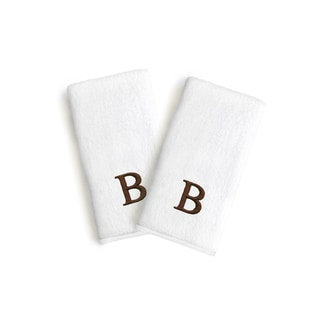 Authentic Hotel and Spa 2-piece White Turkish Cotton Hand Towels with Brown Block Monogrammed Initial