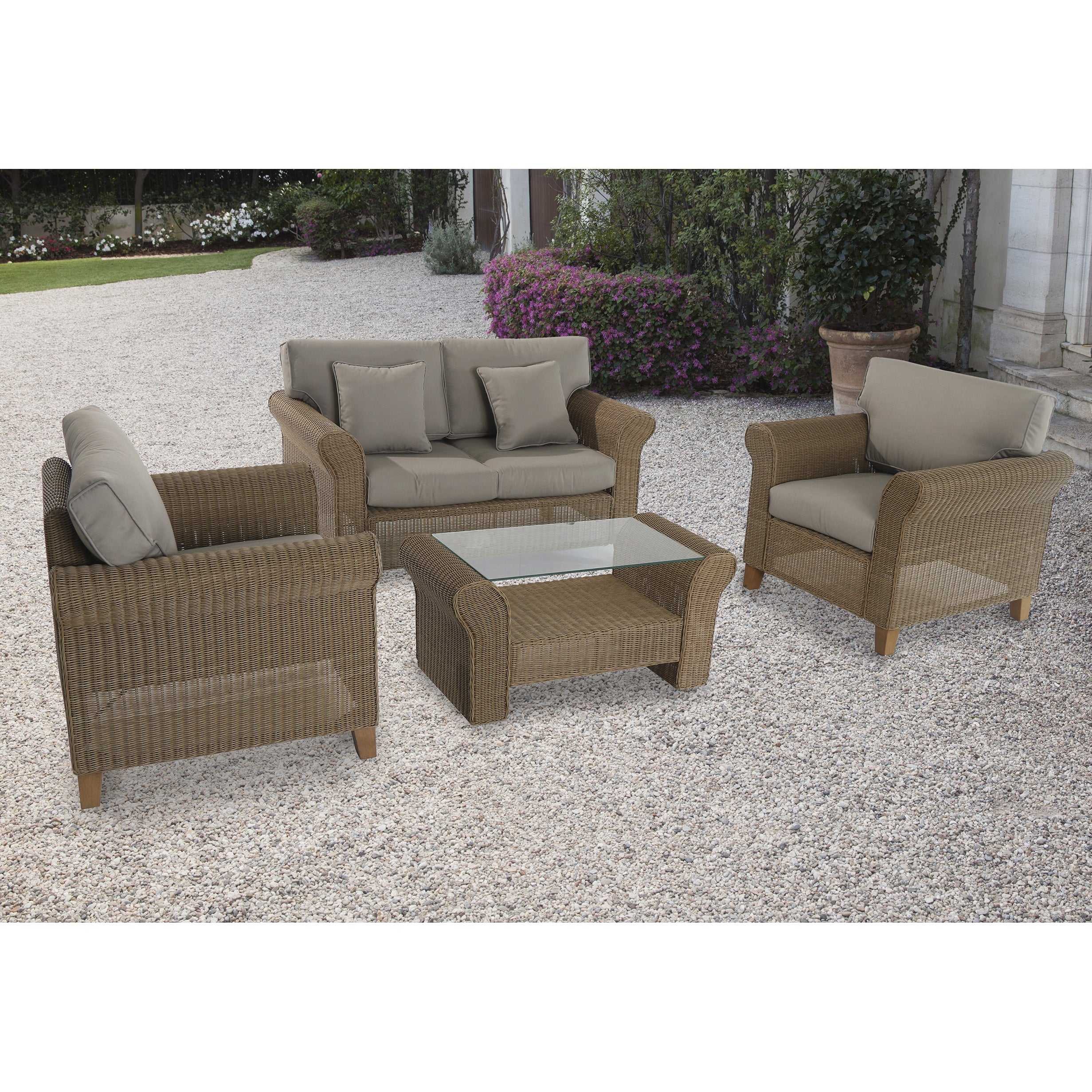 Cambridge Outdoor Avalon 4-piece Wicker Seating Set (Tan/Grey)