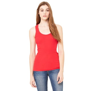 2x1 Women's Rib Racerback Longer Length Red Tank