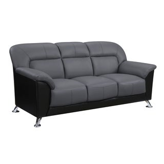 Global Furniture Dark Grey Fabric Black Faux Leather Sofa