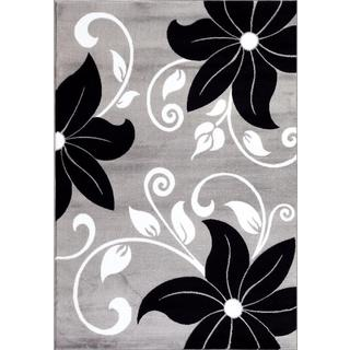 Persian Rugs Modern Floral Grey White Gray Area Rug (5'2 x 7'2)