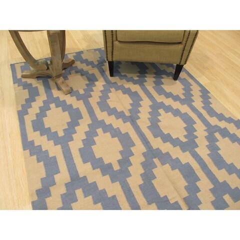 Handmade Wool Blue Transitional Geometric Reversible Modern Moroccan Kilim Rug - 8' x 10'