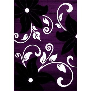 Persian Rugs Modern Floral Purple White Black Area Rug (5'2 x 7'2)